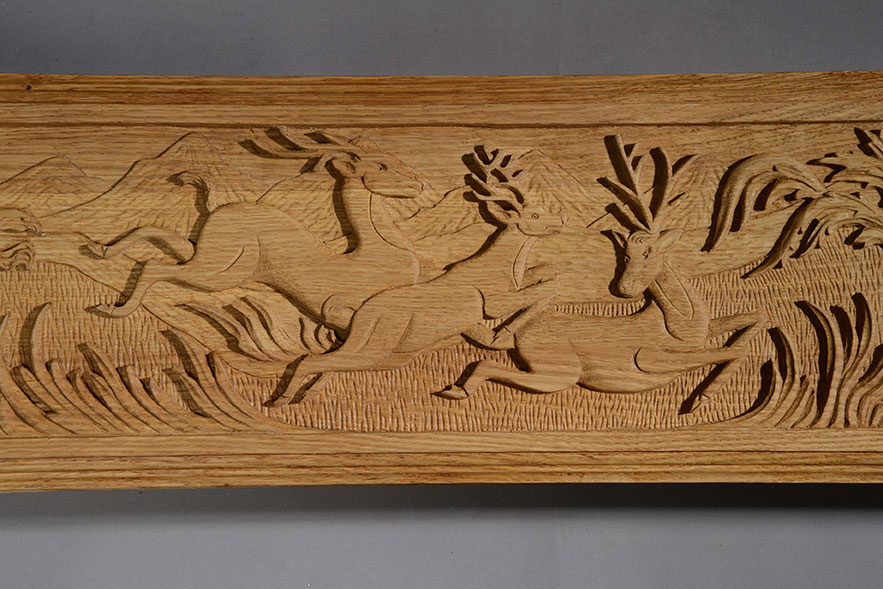 Three Leaping Deer Carving Middle
