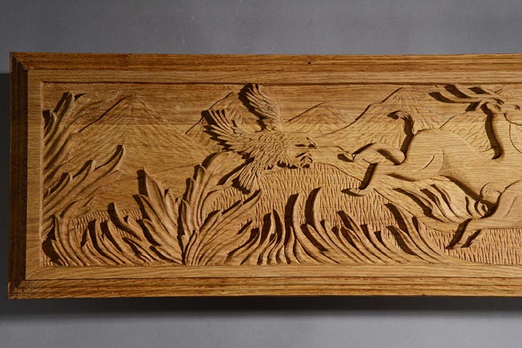 Three Leaping Deer Carving Right